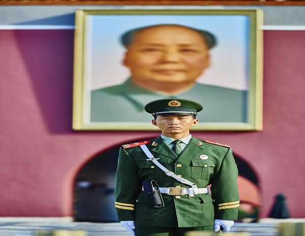 Soldier Mao Zedong Poster Tiananmen Square Forbidden City Beijin